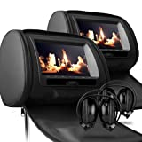 "Sonic Audio HR-7 - 2 x 7"" Black Leather-Style Car DVD/Multimedia Headrests with 2 x IR Infrared Headphones"