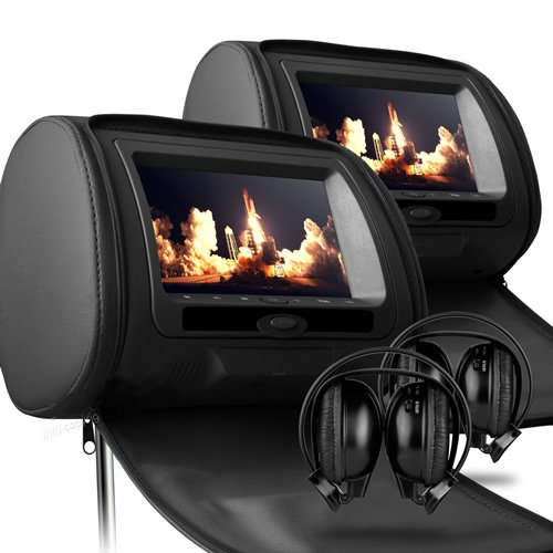 Sonic Audio HR-7 - 2 x 7`` Black Leather-Style Car DVD/Multimedia Headrests with 2 x IR Infrared Headphones