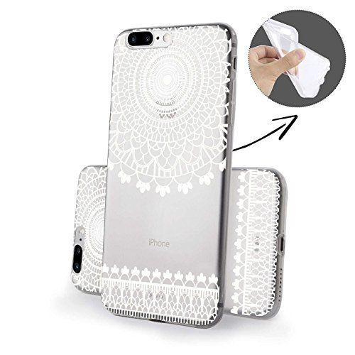 FINOO ® | Iphone 7 Plus Weiche flexible Silikon Handy-Hülle | Transparente TPU Cover Schale mit Motiv Muster | Tasche Case mit Ultra Slim Rundum-schutz | stoßfestes dünnes Bumper Etui | Bunter Baum Kringel Henna 3