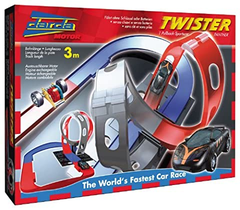 Darda 50109–Circuit de Course Twister, avec Noir Panther voiture de sport, 300cm Distance Longueur