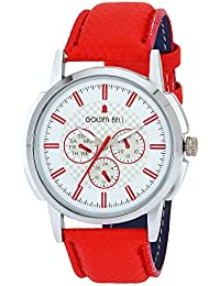 Golden Bell Original White Dial Red Leather Strap Analog Wrist Watch For Men - GB-1053