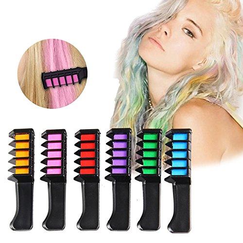Leegoal (TM) Peigne couleur de cheveux temporaire, lavable, teinture pour cheveux craie jetable, non toxique et sans danger pour enfants, pour les fans de fête, de déguisement de bricolage, 6 pièces