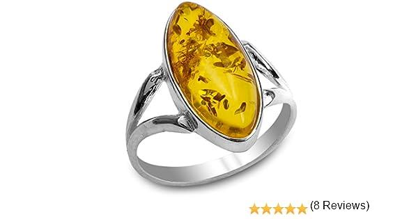 Bague Marquise en ambre et argent sterling