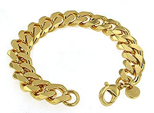 Panzerarmband 750er Gold Doublé 13mm breit, 23cm lang, Armband Herren-Armband Goldarmband Damen Geschenk Schmuck ab Fabrik Italien tendenze GGY13-23