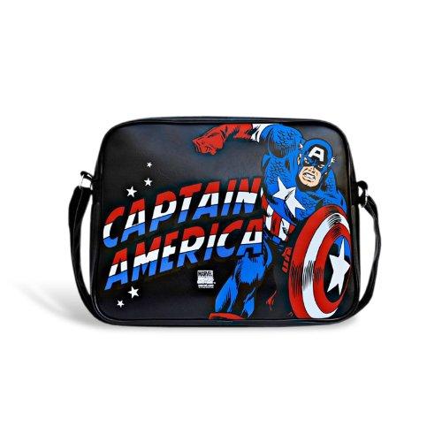 Borsa di Capitan America - Borsa tracolla in policloruro - Rettangolare - Stampa del logo in comic style - Nero