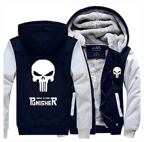 Hoodie Winterjacke Verdickte Kapuzenjacke Sweatjacke Zip Up (Kostüm Punisher Die)