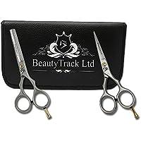 BeautyTrack - Profesional Peluquería Tijeras Set - acero inoxidable japonés - Peluquería barber-scissors y baber-thinning tijeras 6 pulgadas para profesional y personal utilizar - dedos reposa (negro)
