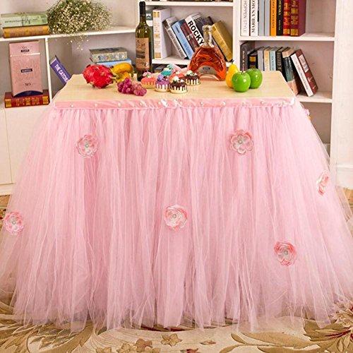 Tisch Schminktisch Rock Tüll Schneeflocke Tischdecke für Party Tisch Abdeckungen Baby Dusche Party Hochzeit Geburtstag Dekoration Home Decor Mädchen, 91,5x 80cm (1Stück)