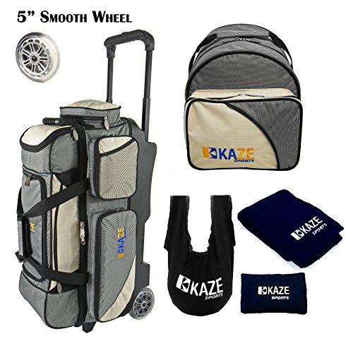 KAZE SPORTS 3Ball Bowling-Walze mit Farbe mit Hinzufügen auf Ersatz Tote und Zubehör Pack, Cremefarben (3 Bowling Ball Tasche)