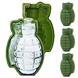 Contever 3D granata stampo cubetto di ghiaccio, Life size silicone granata mano whisky Ice Ball Maker vassoio (4 Pezzi)