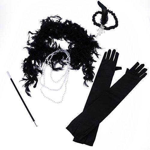 Amosfun Mädchen Verkleiden Sich Accessoires Pailletten Feder Stirnband Halskette Handschuhe Zigarette Rod Top Halloween Verkleiden Halloween Kostüme - Zigarette Mädchen Kostüm