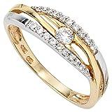 JOBO Damen-Ring 333 Gold Gelbgold Weißgold kombiniert mit Zirkonia