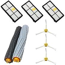 ASP-ROBOT® Recambios Roomba serie 800 y 900 (866 870 871 876 880 890 960 980). Filtro hepa, cepillo lateral, rodillo central y accesorios. Pack repuestos. KIT recambio nuevo (3 x filtros HEPA, 3 x cepillos de 3 aspas, 1 x pack de cepillos extractores). Económico. Calidad garantizada.