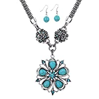 YAZILIND Tibetan Silver Turquoise Crystal Flower Pendant Necklace and Earrings Jewelry Set for Women