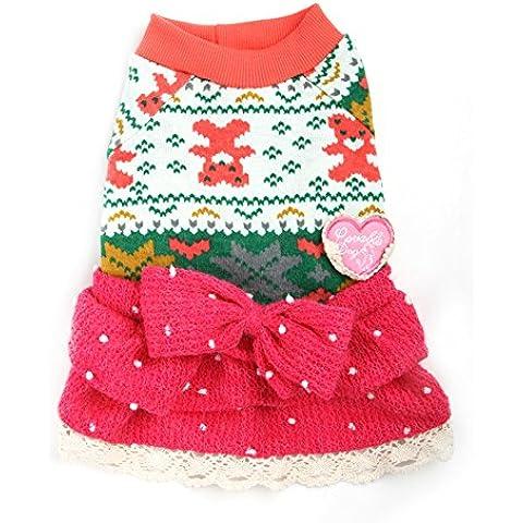 LPX Bella Dolce Cuore maglione di pizzo cane cane abiti di abbigliamento , rosso, M