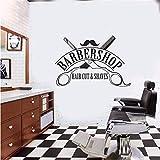 stickers muraux chambre Coiffeur Salon De Coiffure Barbershop Fenêtre Art Décor Citation Coupe De Cheveux Rasage De Mode Affiche Diy Pour Barbier...