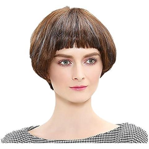 Meydlee Parrucche9.5 pollici corto misto umano parrucca