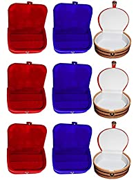 Afrose Combo 3 Pc Red Earring Box 3 Pc Blue Ear Ring Folder 3 Pc Bangle Box Jewelry Vanity Case
