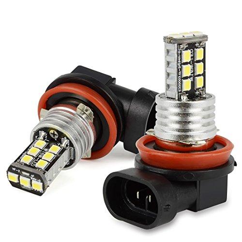 Safego 2 x H8 H9 H11 Lampes Ampoules Antibrouillard 15 SMD 2835 LED DRL Phares BULB LED ULTRA BLANC pour Voiture Auto LED Ampoule Bulb Lumière Anti-brouillard Xenon Blanche DC 12V 6000K