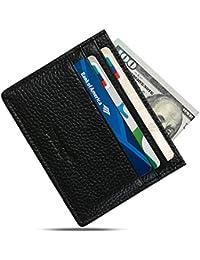 Cartera Delgada De Cuero, Delgado Minimalista Carteras Del Bolsillo Del Frente Para Los Hombres Tarjeta De Crédito Caso, Bloqueo Del RFID