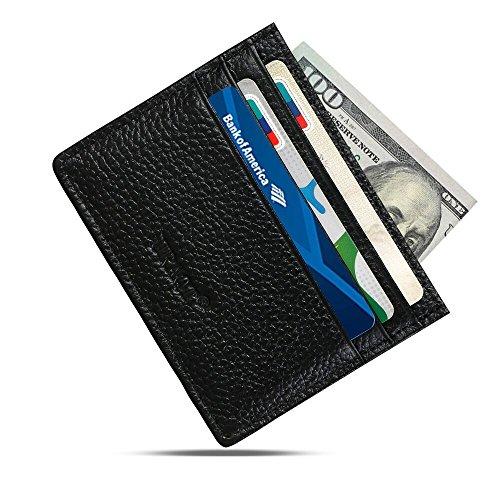 URAQT Leder Slim Wallet, Thin Minimalist Front Tasche Geldbörsen für Männer Kreditkartenetui, RFID Blocking (Schwarz) (Mann Ohne Abzeichen)