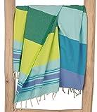 ZusenZomer Fouta Hamamtuch XXL Casablanca 200x200 Blau Grün - Hamam Badetuch Handtuch Gross und Weich - 100% Baumwolle - Exclusives Design Hammam Tücher