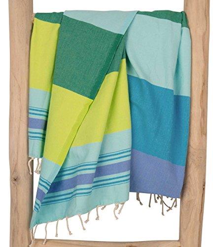 Zusenzomer fouta telo mare xl casablanca 100x190 blu verde - asciugamano hammam lussuoso telo mare cotone leggero - fouta teli mare disegno exclusivo