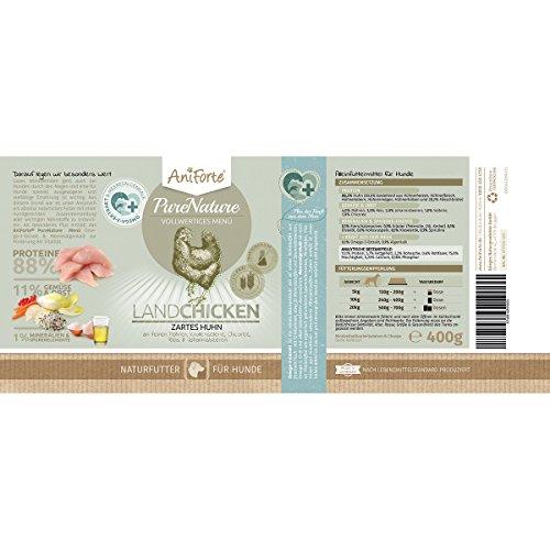 AniForte® PureNature Nassfutter 5+1 getreidefrei Probierpaket 6x400g Huhn Büffel Wild Lamm Rind Hundefutter- Naturprodukt für Hunde - 6