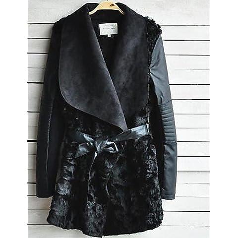 Xi&SOSO collare del turndown moda in pelle faux un'occasione speciale / giacca casual pu , black , m