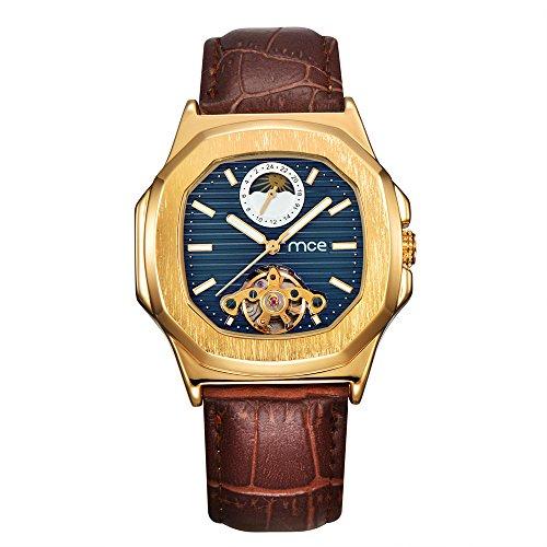 Herren Armbanduhr - Mond Sonne Phase blau Zifferblatt ManChDa Automatisch Mechanisch Uhr für Männer Braunes Leder Band + Geschenkbox