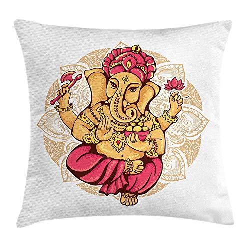 a184f07c11fbe ziHeadwear Spiritual Throw Pillow Cushion Cover, Dancing Elephant Symbol  Traditional Ceremony Tattoo Oriental Design,