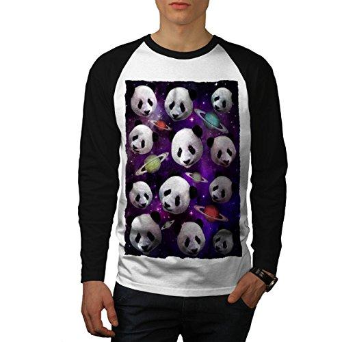 Panda Gesicht Raum Tier Universum Männer XL Baseball LS T-shirt | Wellcoda (Panda Baseball Jersey)
