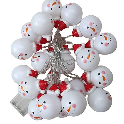 Kingko® LED Lichterkette Schneemann Acryl Weihnachtsbeleuchtung Höhe Batterie außen Deko transparentes Kabel beleuchtet Weihnachtsdeko 3m 20 LED für Party halloween (Multicolor)