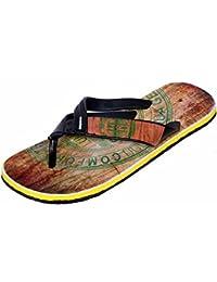 8574fef2c34bf IndiWeaves Men Step Care Flip Flop House Slipper and Hawaai Chappal-Black-7  IND