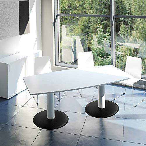 Optima Konferenztisch Bootsform 200x100 cm Besprechungstisch Weiß Tisch Esstisch Küchentisch