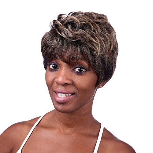 A.Monamour Court Couches Droites Fibres Résistant À La Chaleur Bruns Ondulés Cheveux Synthétiques Perruque Complète Des Femmes