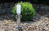 Pollerleuchte mit Steckdose 2-fach Edelstahl Lampe Aussensteckdosen mit Kinderschutz Energiesäule Energieverteiler IP44