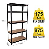 Qualtex Strong Industrial Steel & MDF 5 Tier Black Boltless Heavy Duty Garage Racking Shelving Unit / Racking | 90cm x 40cm x 180cm | 875kg Capacity | 175kg Per Shelf