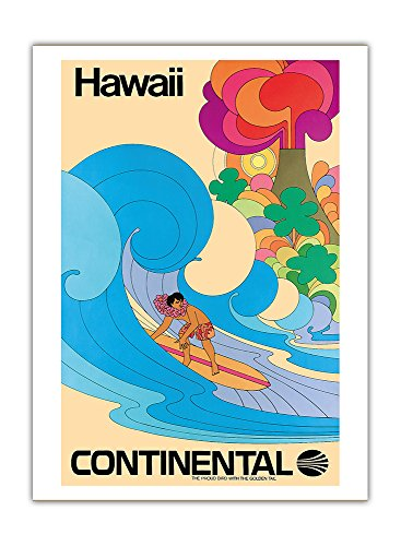 hawai-continental-airlines-surfer-hawaien-psychedelique-de-flower-power-art-affiche-de-voyage-de-cru