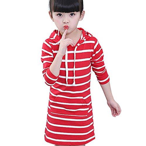 Baby Langes Kleid Hirolan Kinder Herbst Mit Kapuze Kleider Mädchen Lange Hülse Beiläufig Kleider Gestreift Pack die Röcke Mode Schön Babymode 2T-6T Overalls (4T, Rot) - 4t Rock