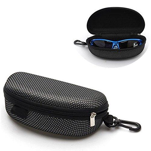 Mflbefulmel Tragbare Brillenetui mit Reißverschluss und Hartschale, Wasserdichte Sonnenbrillen, Hartschalenkoffer für Reisen, Brillenetui mit Karabinerhaken für Männer und Frauen, Zufällig