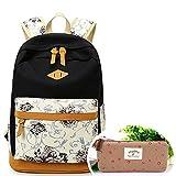 SymbolLife Rucksack Mädchen Teenager Schulrucksack Daypack Reisetasche Sports Wandern Rucksack für Universität Outdoor Freizeit Rucksäcke mit Mäppchen Geschenk 13*17,7*6,3in, Schwarz
