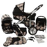 Chilly Kids Matrix Lancer Kinderwagen Komplettset (Autositz, Regenschutz, Moskitonetz, Schwenkräder) 47 Schwarz & Karo