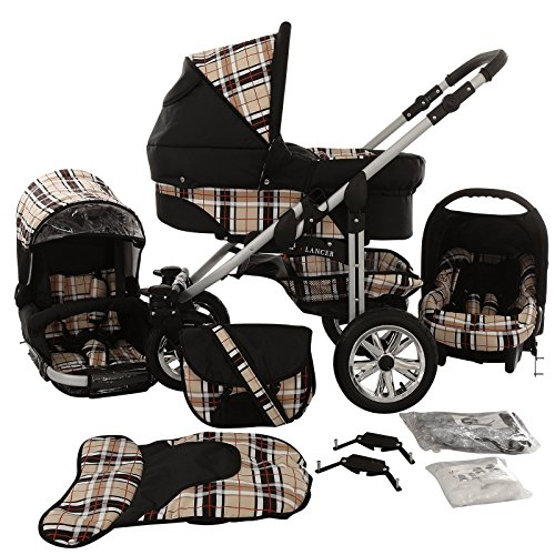 Chilly Kids Matrix Lancer Kinderwagen Safety-Set (Autositz & ISOFIX Basis, Regenschutz, Moskitonetz, Schwenkräder) 47 Schwarz & Karo