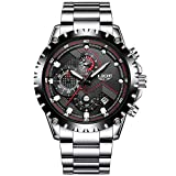 Pour homme en acier inoxydable Noir classique de luxe décontracté montres avec multifonction chronographe montres de sport étanche 30m Entreprise Mode montre à quartz pour hommes