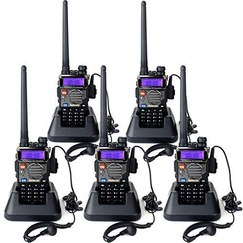 Retevis RT5RV Talkies Walkies Rechargeables Radio VHF UHF Double Réception 128 Canaux 5W Vox Scan Alarme Radio FM LCD Lampe de Torche pour Excursion Randonnée Escalade (Noir et Argenté, 5 Pcs)