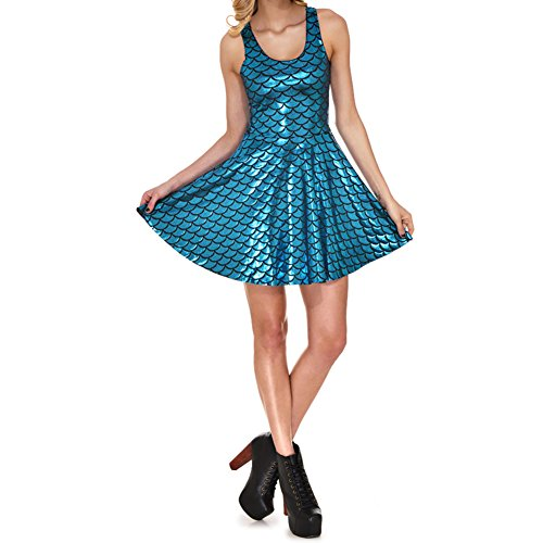Highdas Neue Ankunft Plus Gro?e Damen Kleid Digital Print Mermaid Farbskalen Kleid Armellos Hell Blau