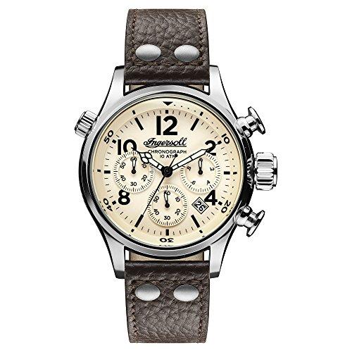 Ingersoll Herren Analog Quarz Uhr mit Leder Armband I02002