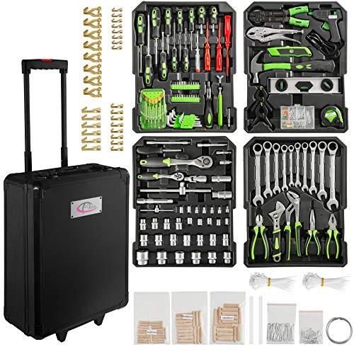 TecTake 899 teiliger Alu Werkzeugkoffer Trolley mit Werkzeug gefüllt / 4 Ebenen/Teleskopgriff / schwarz