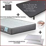 Dulces Sueños Pack COLCHON VISCOELASTICO Premium + Base TAPIZADA 3D + Patas + 2 Almohada VISCO(70) (150 x...